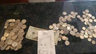 Teen Pays Food Bill in Quarters