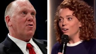 Thomas Homan, left, with Michelle Wolf