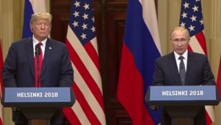 President Donald Trump and Russian President Vladimir Putin hold a press conference after their July 16 meeting in Helsinki.