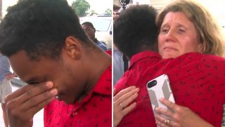 Walter Carr cries after being given a car.