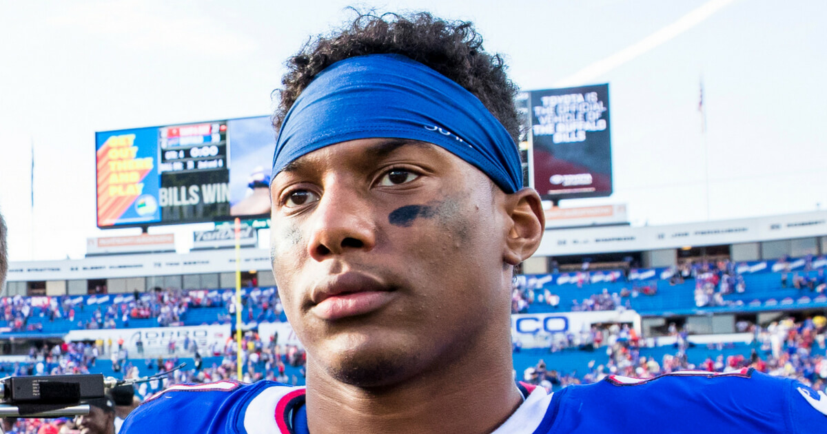 Zay Jones #11 of the Buffalo Bills walks off the field after the game against the Tampa Bay Buccaneers at New Era Field on October 22, 2017, in Orchard Park, New York.