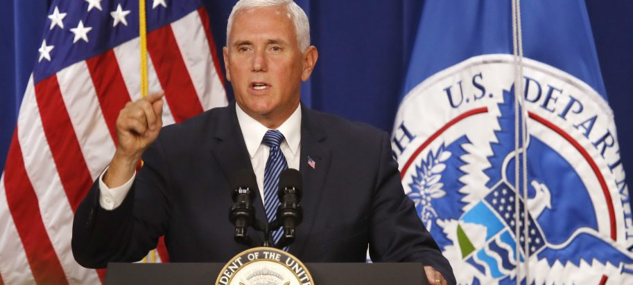 "Vice President Mike Pence speaks at U.S. Immigration and Customs Enforcement (ICE), at ICE headquarters, Friday, July 6, 2018, in Washington. Pence is defending federal immigration authorities charged with detaining and deporting unauthorized immigrants and accusing Democrats of making opposition to the agency the ""center"" of their party."