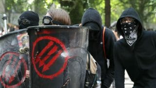 Antifa protesters clash in police in Portland, Oregon in 2017