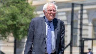 Sen. Bernie Sanders (I-VT) arrives at a news conferenc