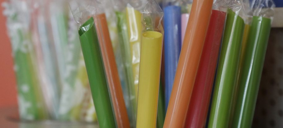 This July 17, 2018 photo shows wrapped plastic straws at a bubble tea cafe in San Francisco. Eco-conscious San Francisco joins the city of Seattle in banning plastic straws, along with tiny coffee stirrers and cup pluggers, as part of an effort to reduce plastic waste. It also makes single-use food and drink side items available upon request and phases out the use of fluorinated wrappers and to-go containers.
