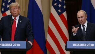 President Donald Trump and Russian President Vladimir Putin attend a joint press conference