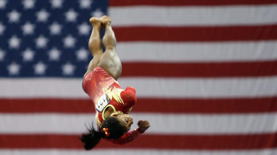 Olympic champion Simone Biles competes on the vault during the U.S. Classic gymnastics competition