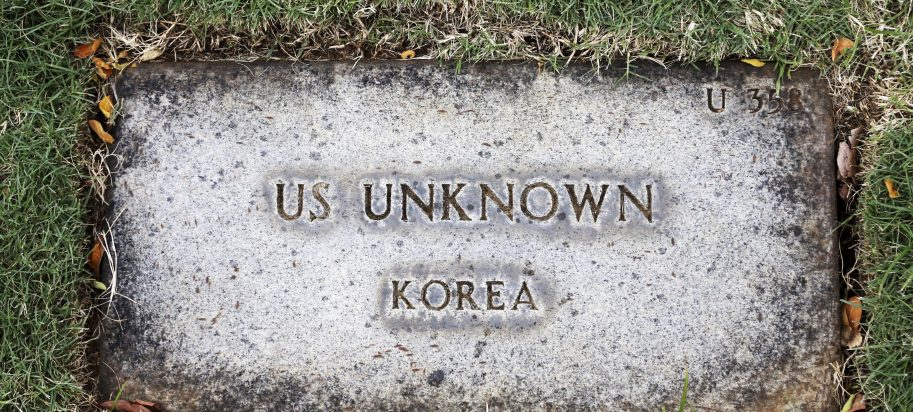 A grave marker for an unknown soldier from the Korean War is shown at the National Memorial Cemetery of the Pacific in Honolulu on Monday, July 30, 2018. Human remains handed over to the U.S. government from North Korea are expected to arrive Wednesday in Honolulu, where scientists will begin the painstaking process of trying to match DNA from the bones to those of American soldiers who didn't return from the Korean War more than a half century ago.