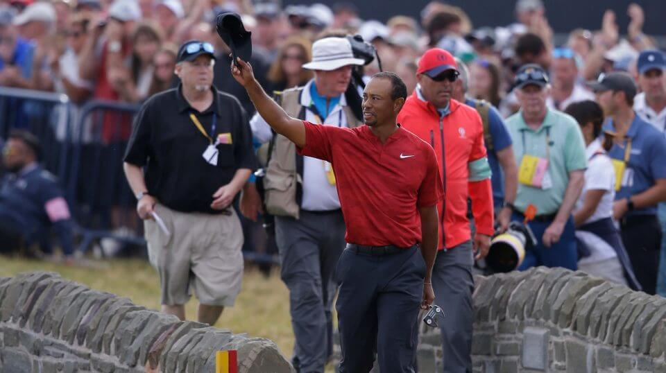 Tiger Woods of the US walks onto the 18th green during the final round for the 147th British Open Golf championships in Carnoustie, Scotland,