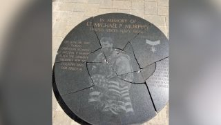 Memorial to fallen Navy SEAL Lt. Michael P. Murphy shattered
