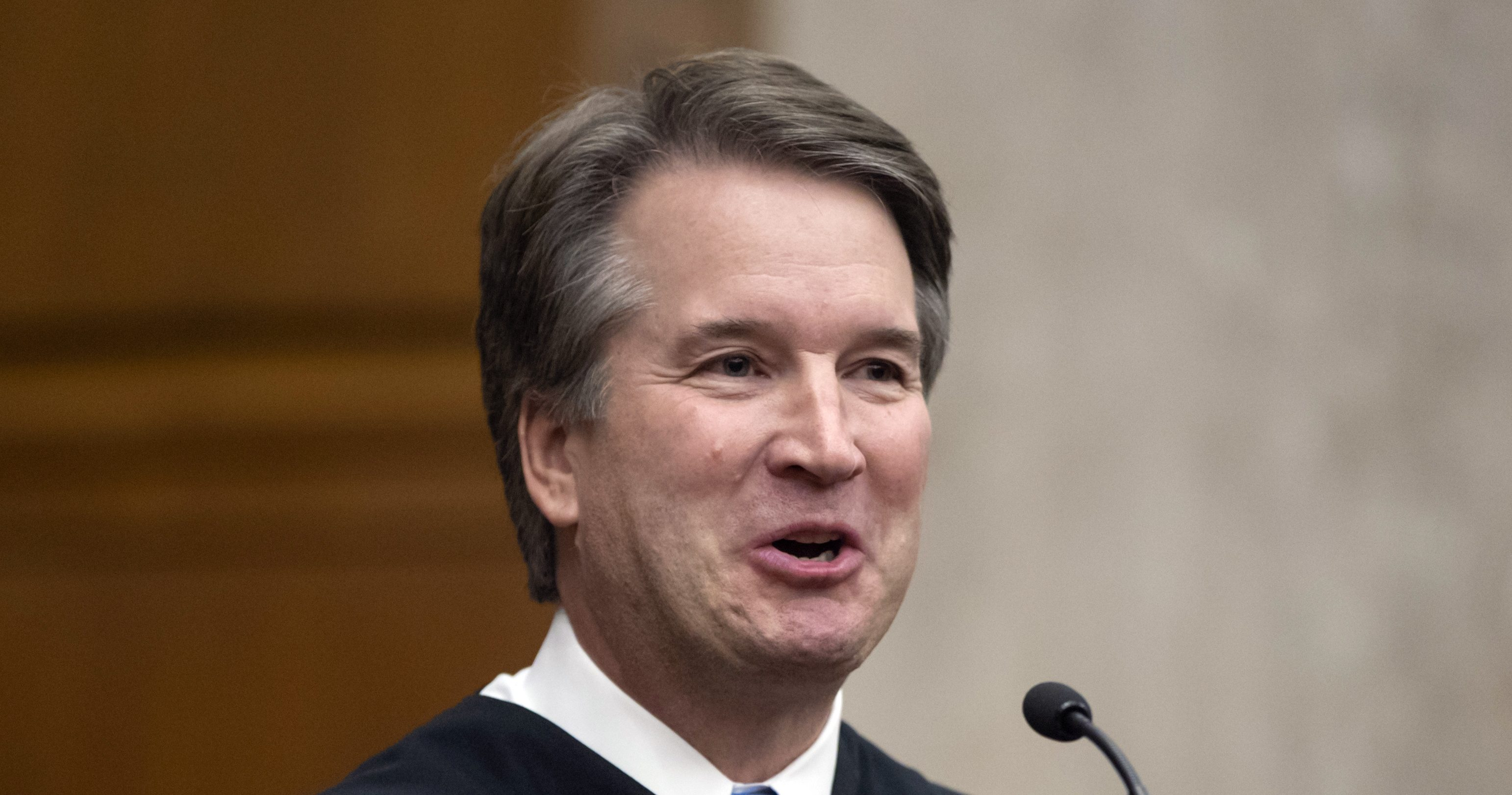 In this Aug. 7, 2018, photo. President Donald Trump's Supreme Court nominee, Judge Brett Kavanaugh, officiates at the swearing-in of Judge Britt Grant to take a seat on the U.S. Court of Appeals for the Eleventh Circuit in Atlanta at the U.S. District Courthouse in Washington.