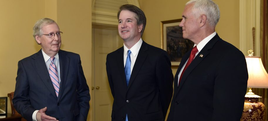 Senate Majority Leader Mitch McConnell of Ky., left, speaks as he talks about Supreme Court nominee Brett Kavanaugh, center, as Vice President Mike Pence, right, listens, during a visit Capitol Hill in Washington.