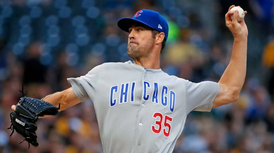Cubs pitcher Cole Hamels pitches in his debut for the team Aug. 1 at Pittsburgh.
