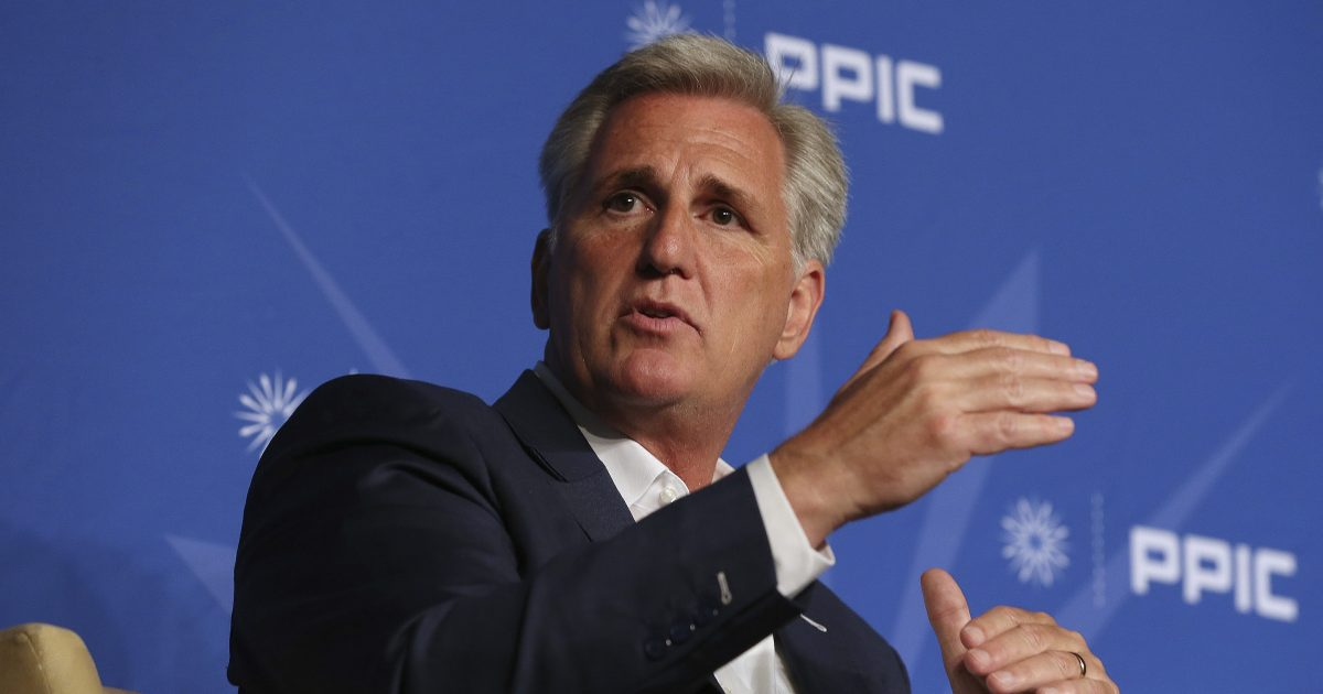 Rep. Kevin McCarthy, R-Calif., answers a question during his appearance with the Public Policy Institute of California, Wednesday, Aug. 15, 2018, in Sacramento, Calif.