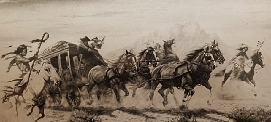 This artwork depicting a Western scene with a stage coach and Indians is among the items stolen from the Staten Island, N.Y., home of artist Gregory Perillo in 1983.