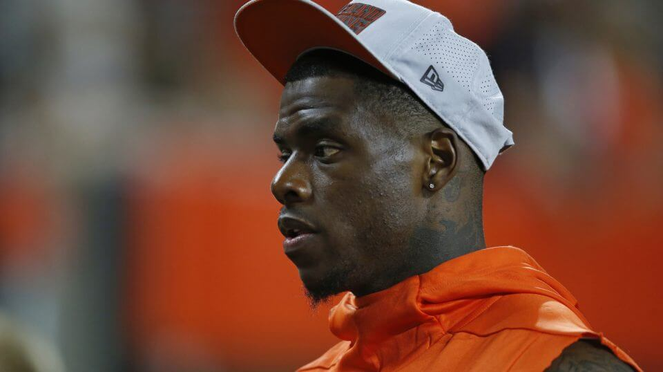 Cleveland Browns wide receiver Josh Gordon watches from the sideline during the first half of the team's NFL preseason football game against the Philadelphia Eagles on Thursday in Cleveland.