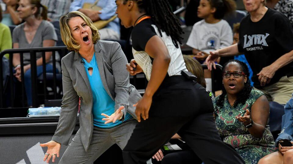 In this July 5, 2018, file photo, Minnesota Lynx coach Cheryl Reeve argues a foul call with an official, leading to a double technical foul and Reeve's ejection during the second half of the team's WNBA basketball game against the Los Angeles Sparks in Minneapolis. Technical fouls are up this year in the WNBA with more already called this season than last.