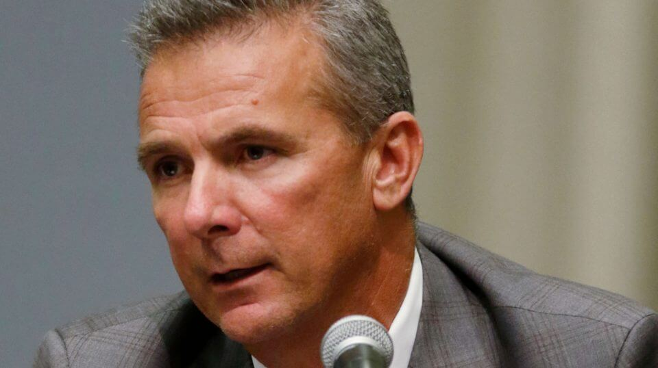 Ohio State football coach Urban Meyer answers questions during a news conference in Columbus, Ohio on Wednesday.