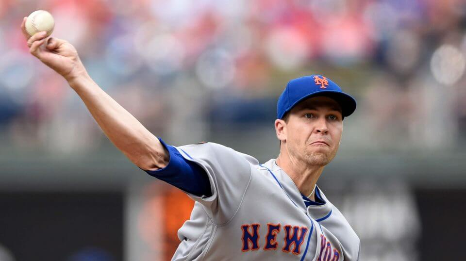 New York Mets starting pitcher Jacob deGrom throws during the first inning of a baseball game against the Philadelphia Phillies on Saturday in Philadelphia.