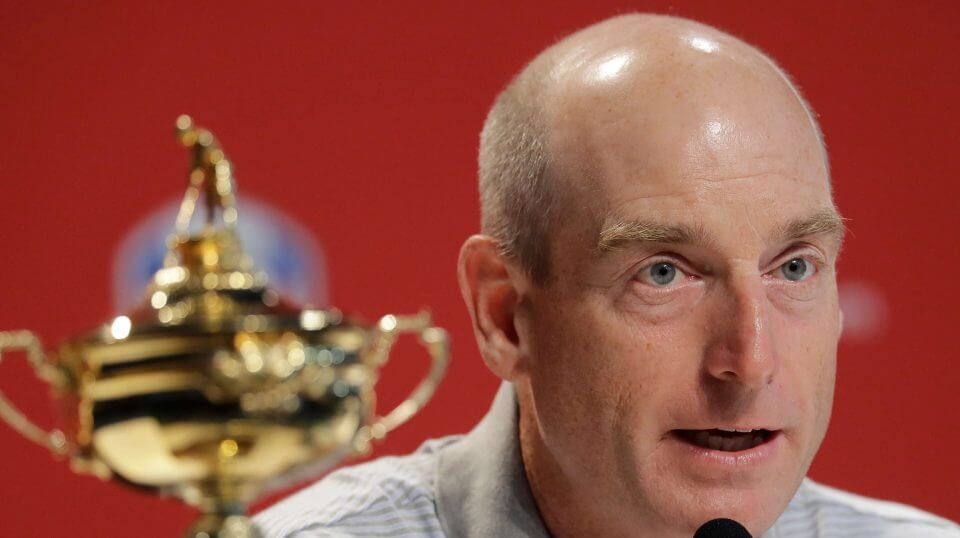 2018 U.S. Ryder Cup Team Captain Jim Furyk speaks during a news conference