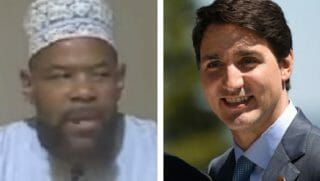 Abu Usama At-thababi, left, and Canadian Prime Minister Justin Trudeau.