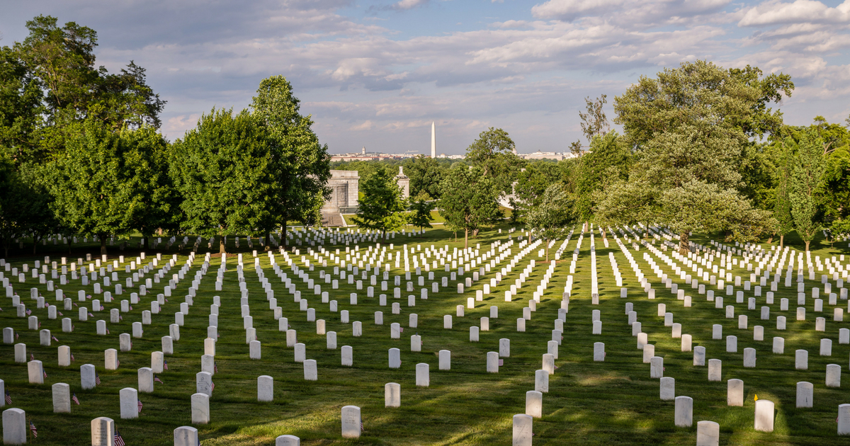 Rows of grave markers at Arlington National Cemetery
