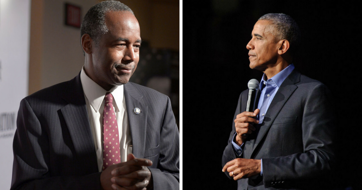 Dr. Ben Carson attends the DC premiere of the film, 'Death of a Nation,' at E Street Cinema on August 1, 2018 in Washington, DC. ;President Barack Obama speaks at the Obama Foundation Community Event on November 1, 2017 in Chicago, Illinois.