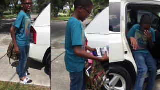 A boy named Javari washed cars to raise money for school supplies, but one couple decided to step in and help.
