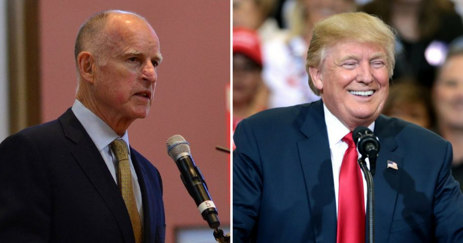 California Gov. Jerry Brown and U.S. President Donald Trump