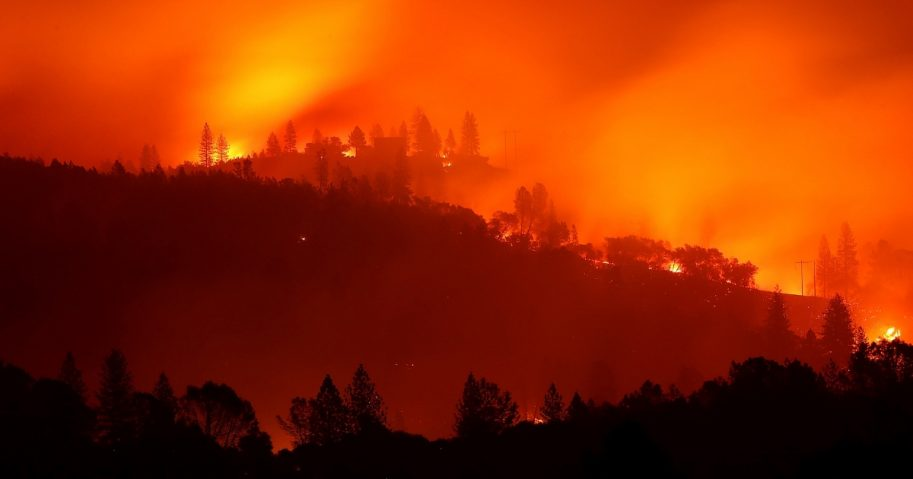 The Camp Fire burns in the hills near Oroville, California, on Nov. 10.