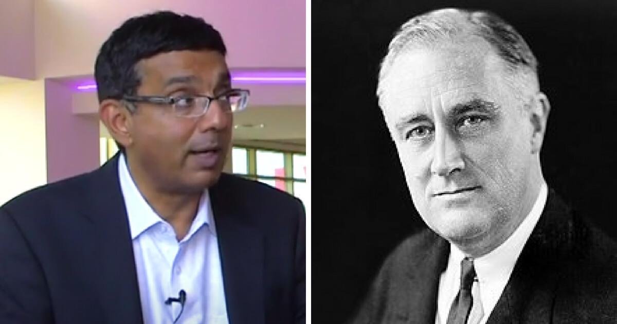 Filmmaker Dinesh D'Souza and former President Franklin D. Roosevelt