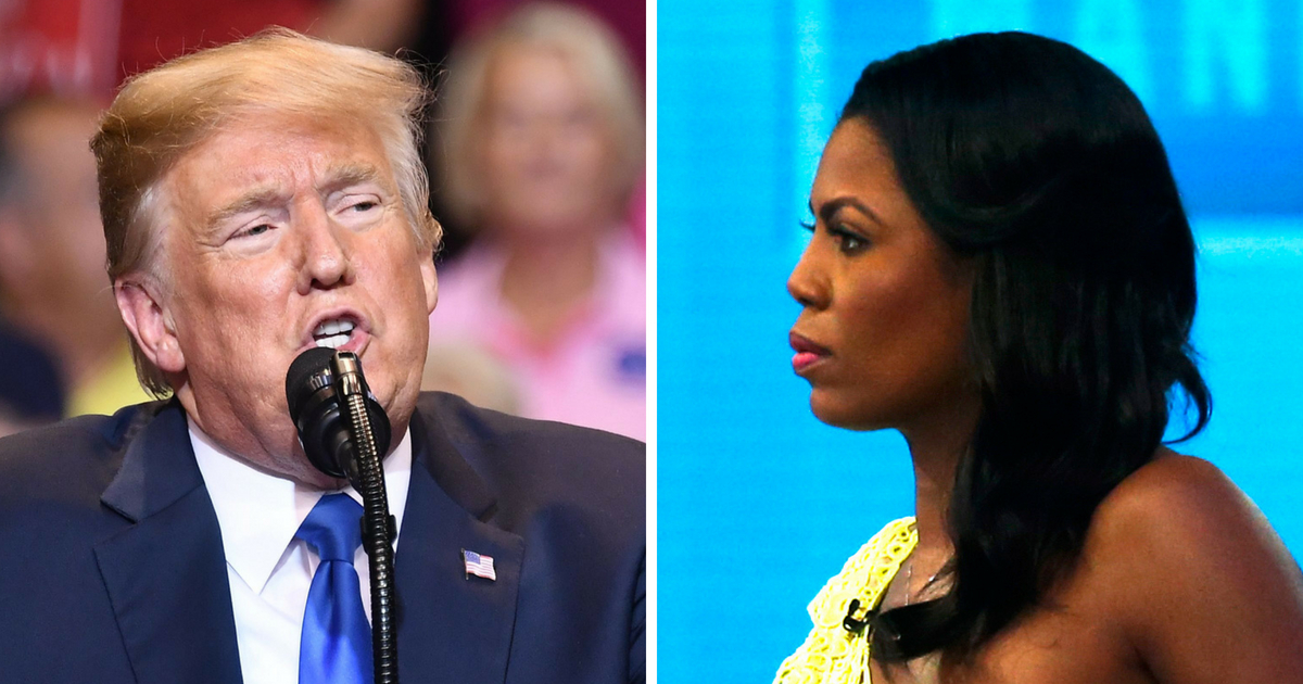 President Donald Trump, left, and Omarosa Manigualt Newman, right