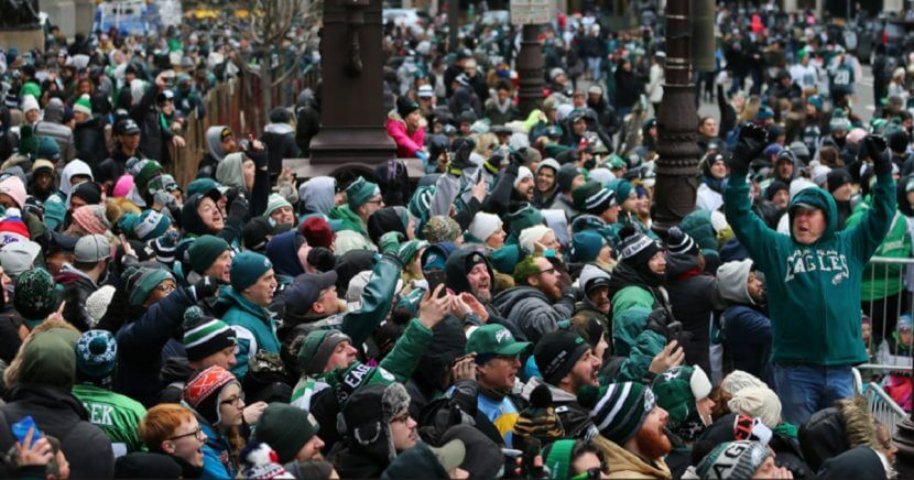 Mob of Eagles fans at 2018 Super Bowl parade.