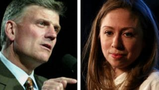 Franklin Graham, left, and Chelsea Clinton