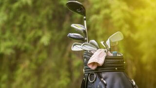 Golf bag pictured on course