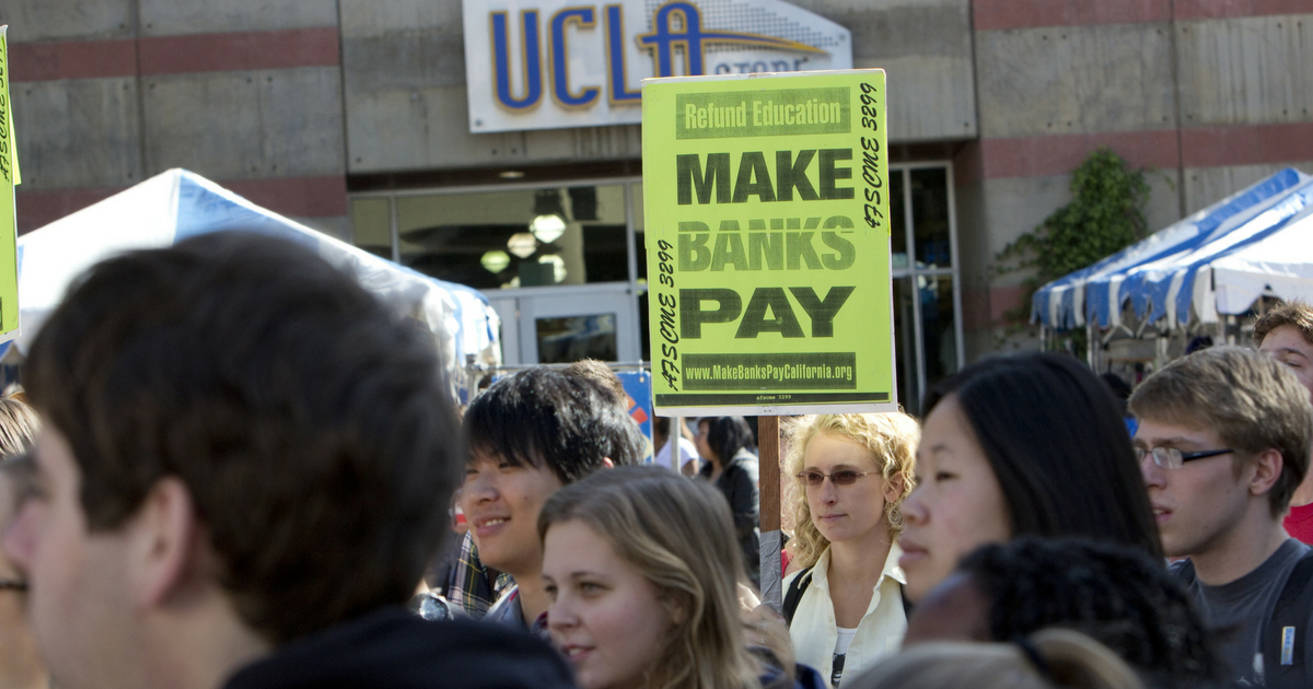 Hundreds of students and workers rally at UCLA on November 9, 2011 in Los Angeles. Refund California organized the event as part of the Occupy Wall Street movement.