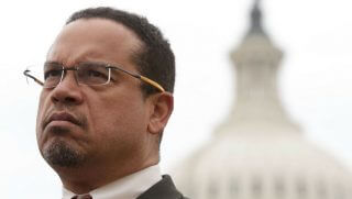 Rep. Keith Ellison (D-MN) listens during a news conference in front of the Capitol February 1, 2017 on Capitol Hill in Washington, DC.