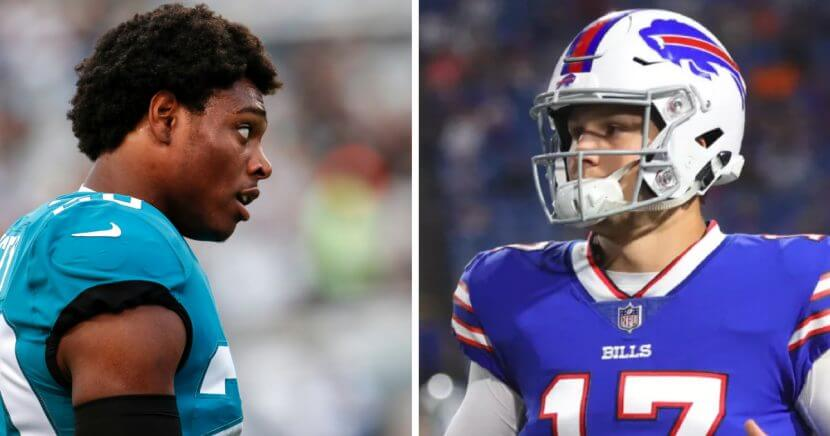 Cornerback Jalen Ramsey of the Jacksonville Jaguars, left, and Buffalo Bills rookie quarterback Josh Allen, right.