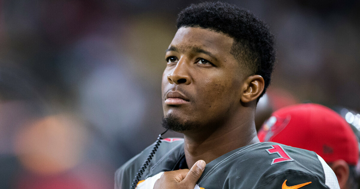 Jameis Winston #3 of the Tampa Bay Buccaneers on the sidelines during a game against the New Orleans Saints at Mercedes-Benz Superdome on November 5, 2017 in New Orleans, Louisiana. The Saints defeated the Buccaneers 30-10.
