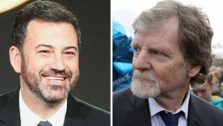 TV talk show host Jimmy Kimmel, left, and Christian baker Jack Phillips, right