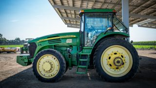 A photo of a John Deere tractor.
