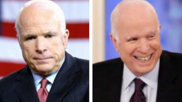 Two photos show McCain in unflattering and flattering ways.