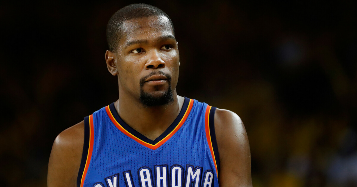 Kevin Durant #35 of the Oklahoma City Thunder during game two of the NBA Western Conference Finals against the Golden State Warriors at ORACLE Arena on May 18, 2016 in Oakland, California.