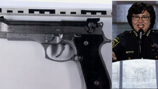 Model of missing Beretta with Valdez, right.
