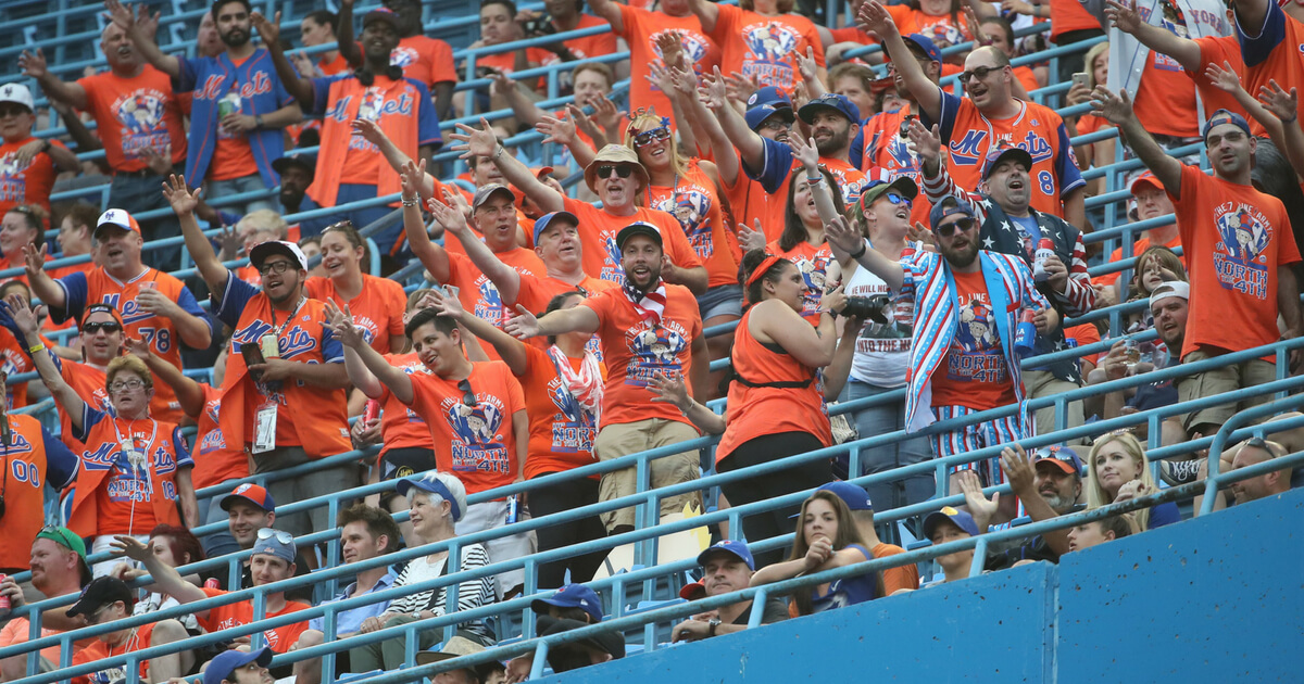 New York Mets fans cheer on their team from the fifth deck during MLB game action against the Toronto Blue Jays at Rogers Centre on July 4, 2018, in Toronto, Canada.