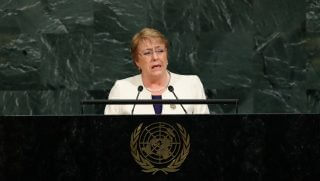 Michelle Bachelet Jeria, president of Chile, addresses the United Nations General Assembly at U.N. headquarters, Sept. 20, 2017, in New York City.