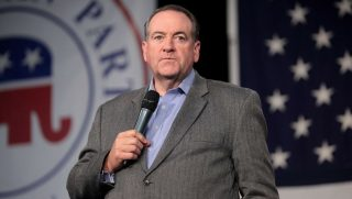 Mike Huckabee speaks at the Iowa GOP's Growth and Opportunity Party