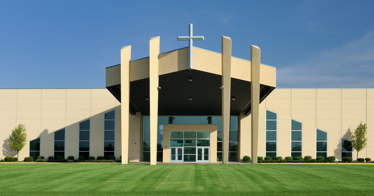 The front of a modern Christian church