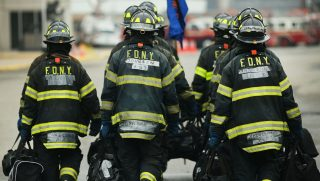 Firefighters train at the Fire Department of New York training academy on May 9, 2014.