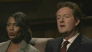 "Omarosa Manigault and Piers Morgan in a scene from ""Celebrity Apprentice"""